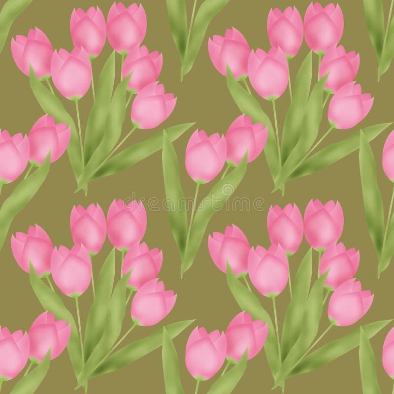 Modello floreale senza cuciture del tulipano della primavera su verde illustrazione di stock