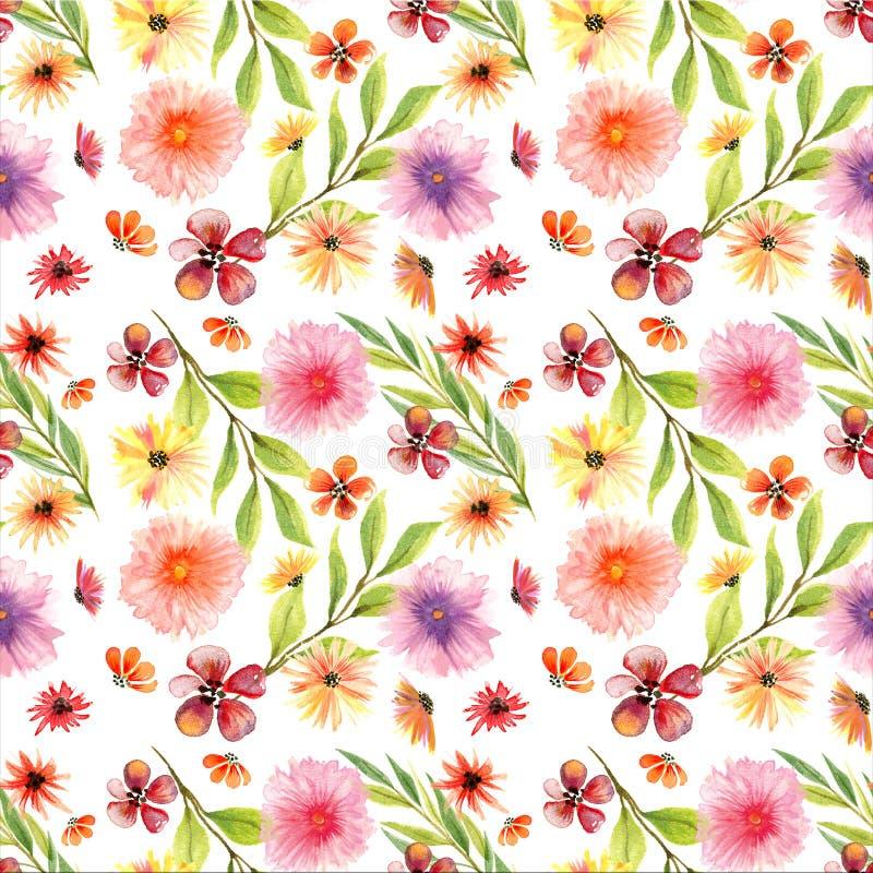 Modello floreale senza cuciture dell'acquerello fotografie stock