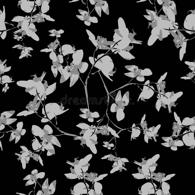 Modello floreale senza cuciture di motivo scuro di Orquideas illustrazione vettoriale