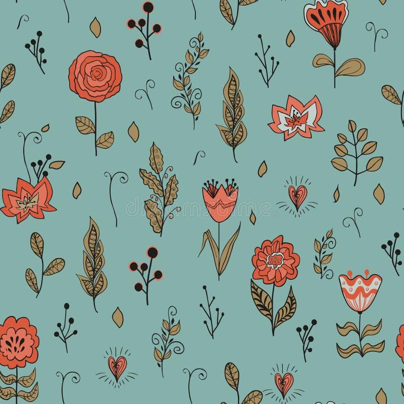 Modello floreale senza cuciture di vettore con i fiori del giardino Fiori e foglie disegnati a mano illustrazione vettoriale