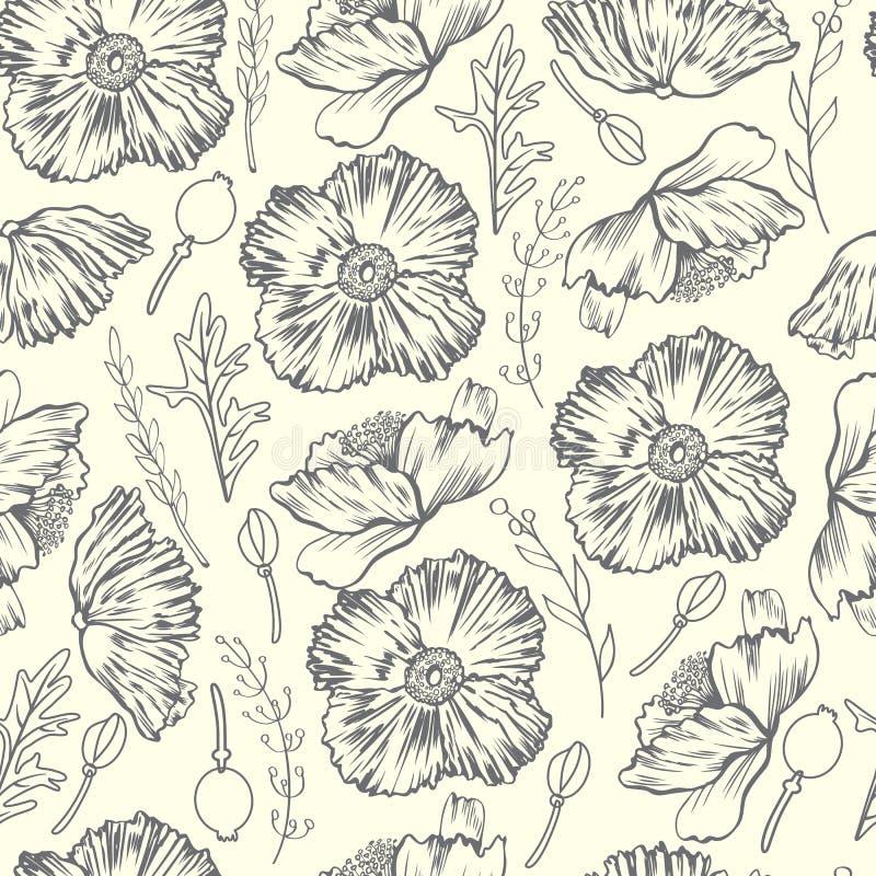 Modello floreale senza cuciture di vettore, disegnato a mano di schizzo del fiore del papavero isolato su fondo leggero, linea d' royalty illustrazione gratis