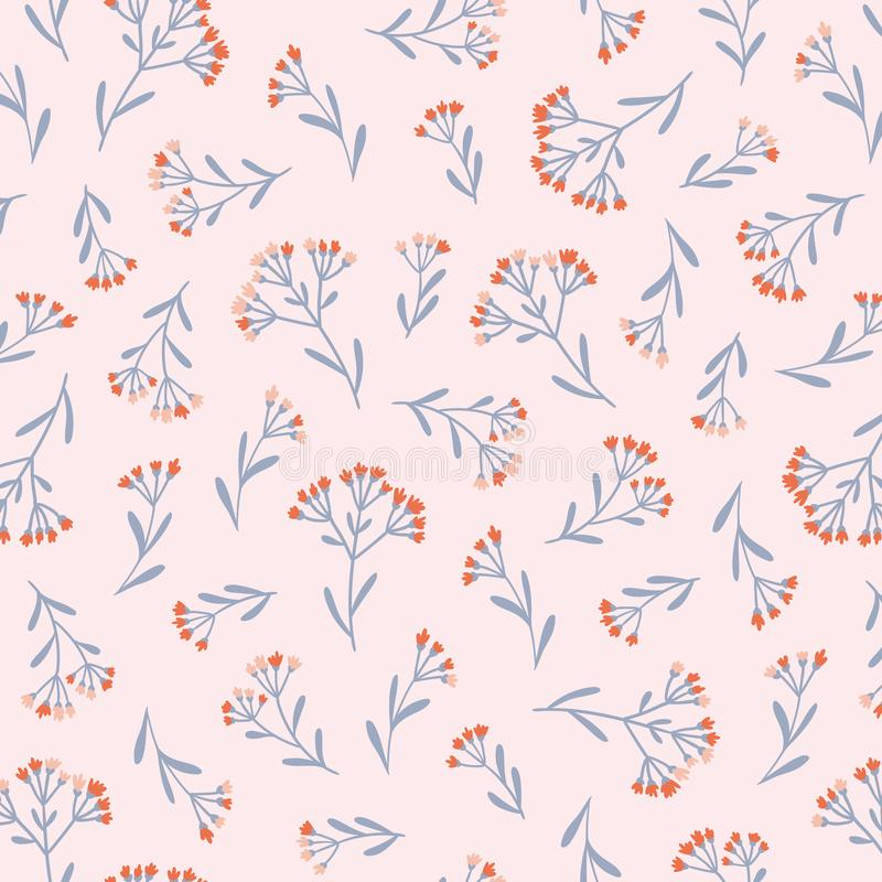 Modello floreale senza cuciture nello stile disegnato a mano di vettore Ditsy ha ripetuto il fondo royalty illustrazione gratis