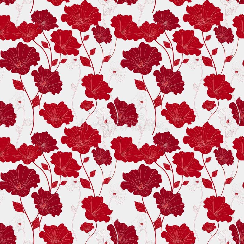 Modello floreale senza cuciture rosso grazioso illustrazione vettoriale