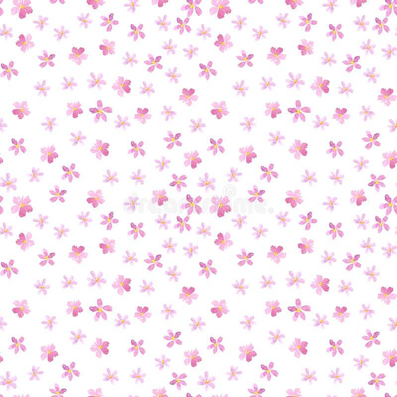 Modello floreale senza cuciture su un fondo bianco Ciliegia rosa, prugna, pera, fiore della mela Acquerello di estate e della pri illustrazione vettoriale