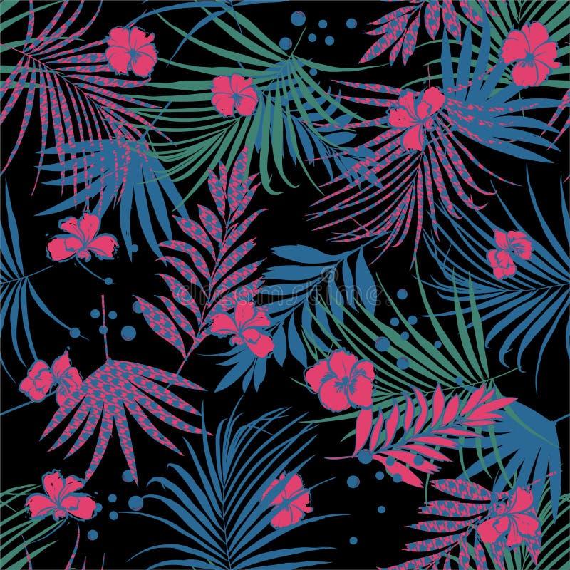 Modello floreale senza cuciture tripical di notte di estate con le foglie da riempire di pied de poule e del fiore Illustrazione  illustrazione di stock