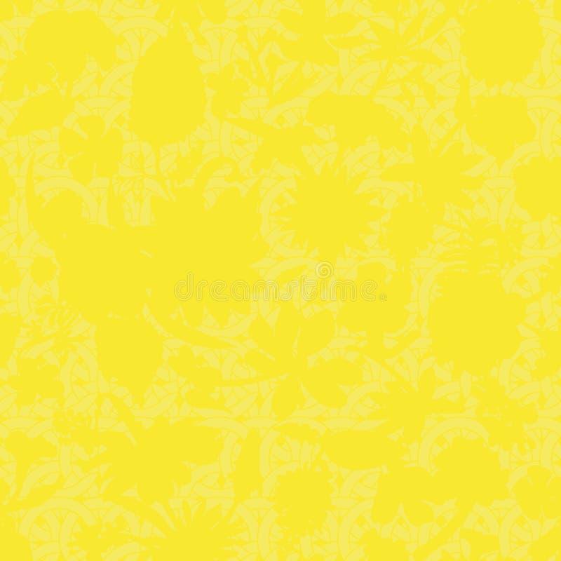 Modello floreale sottile del vetro macchiato di vettore senza cuciture nei colori gialli illustrazione di stock