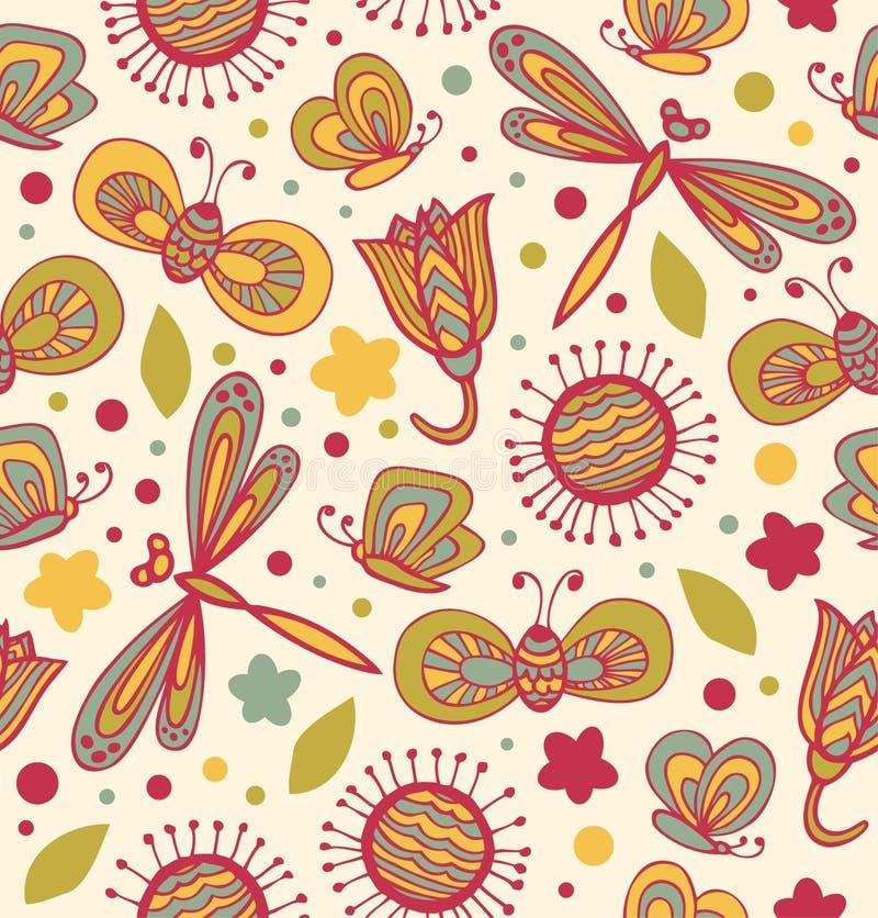 Modello floreale sveglio con i fiori, le libellule e le farfalle Struttura senza cuciture del tessuto decorato royalty illustrazione gratis