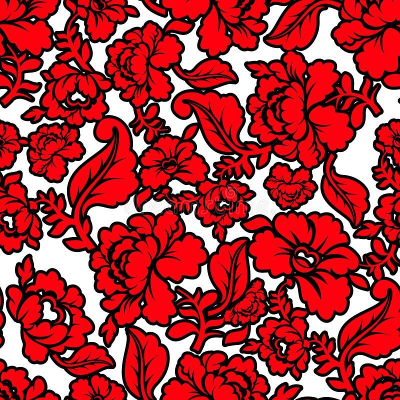 Modello floreale tradizionale russo Ornamento nazionale Khokhloma illustrazione di stock