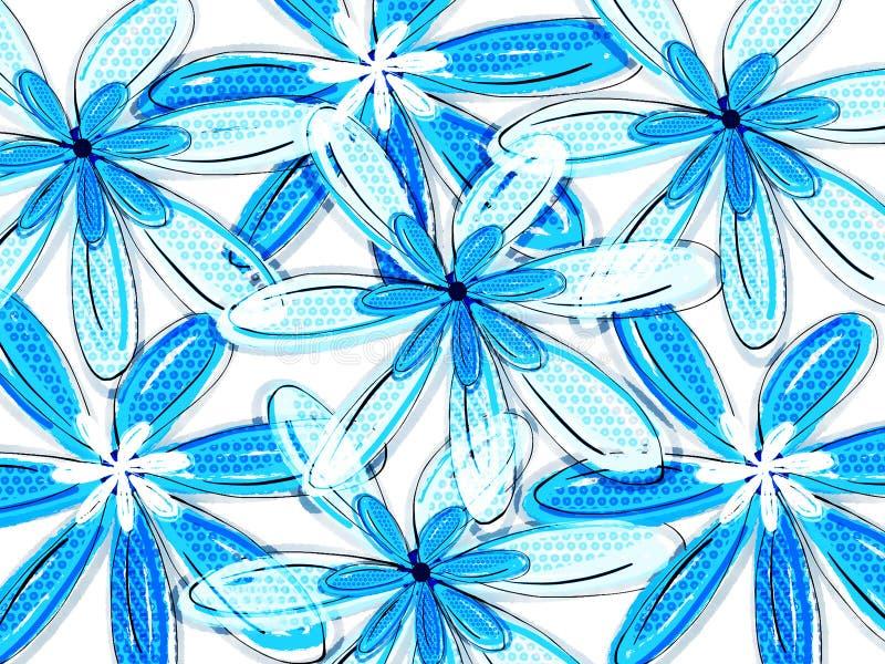 Modello floreale tropicale blu illustrazione di stock