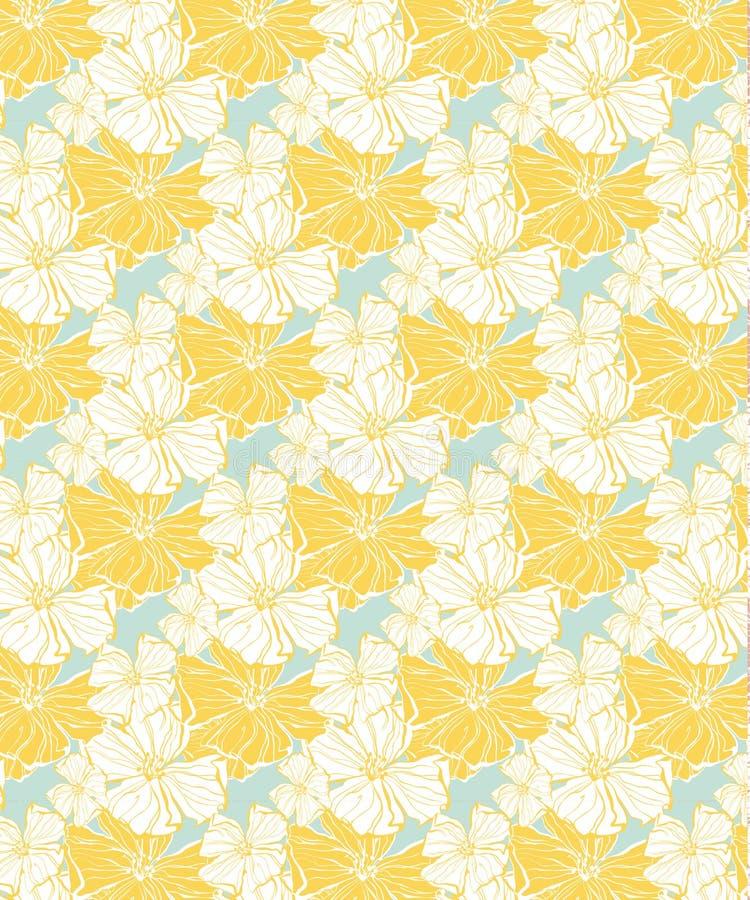 Modello floreale tropicale, senza cuciture gialli per i tessuti e la carta da parati illustrazione di stock