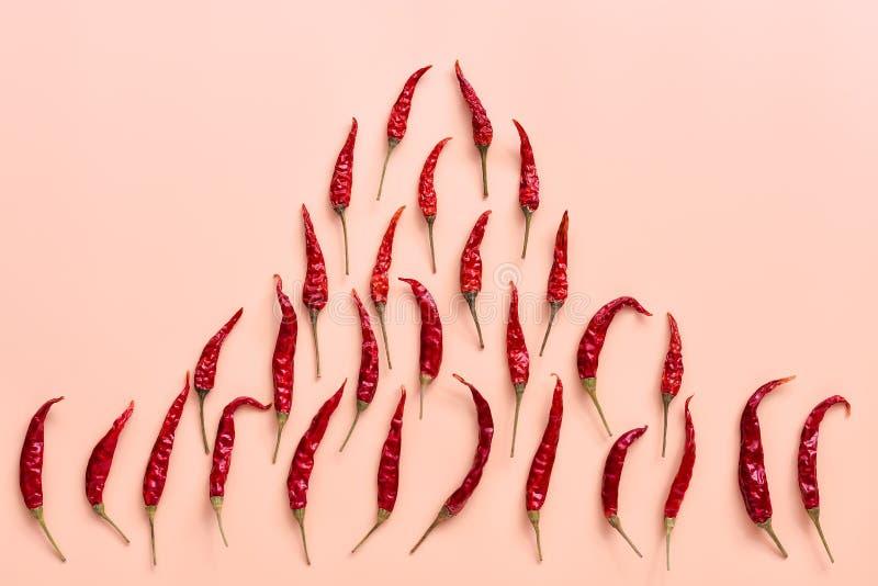 Modello a forma di del fuoco dei peperoncini rossi caldi asciutti su fondo rosa pastello Vista superiore, disposizione piana immagine stock