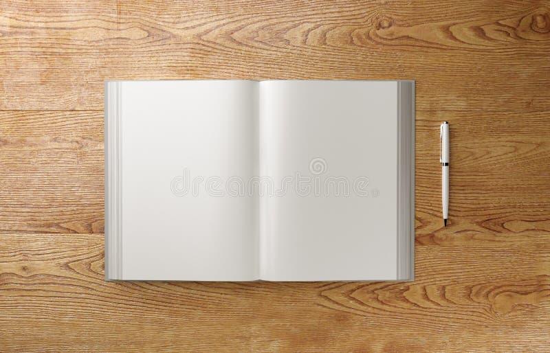 Modello fotorealistico in bianco del libro A4 sulla tavola di legno leggera, illustrazione 3D fotografie stock libere da diritti