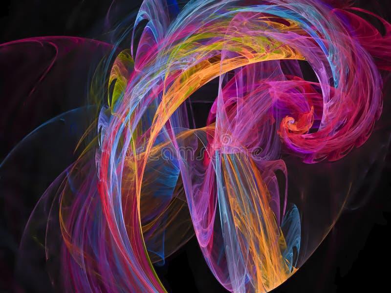 Modello futuristico di frattale della sovrapposizione digitale di effetto di struttura profonda vibrante astratta di progettazion illustrazione vettoriale