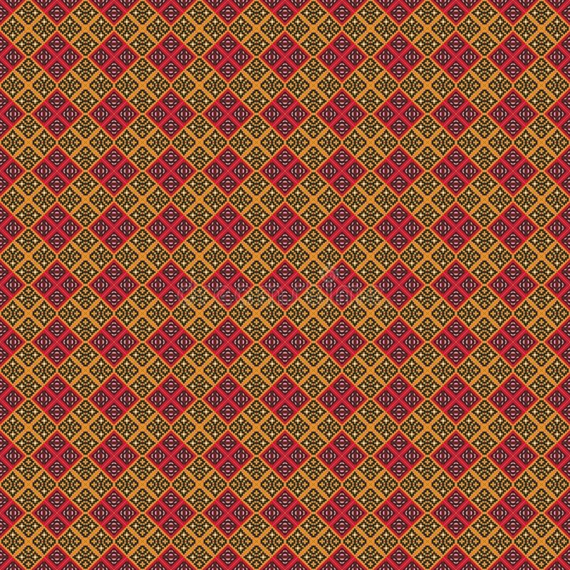 Modello geometrico antico nella ripetizione Stampa del tessuto Fondo senza cuciture, ornamento del mosaico, stile etnico illustrazione vettoriale