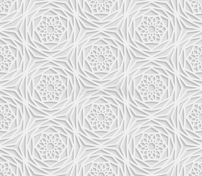 Modello geometrico arabo senza cuciture, 3D modello bianco, ornamento indiano, motivo persiano illustrazione di stock