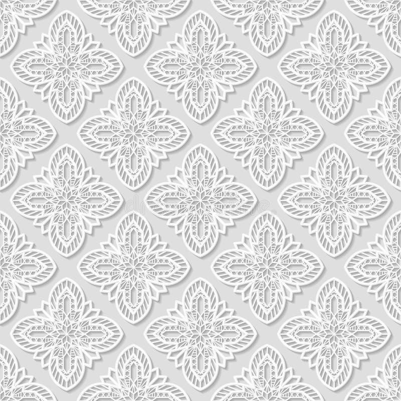 Modello geometrico arabo senza cuciture, ornamento orientale, modello indiano, motivo persiano, fondo bianco, 3D, vettore royalty illustrazione gratis