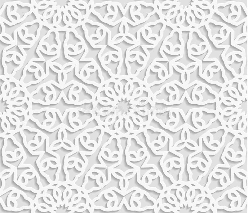 Modello geometrico arabo senza cuciture, ornamento orientale, ornamento indiano, moti persiano illustrazione di stock