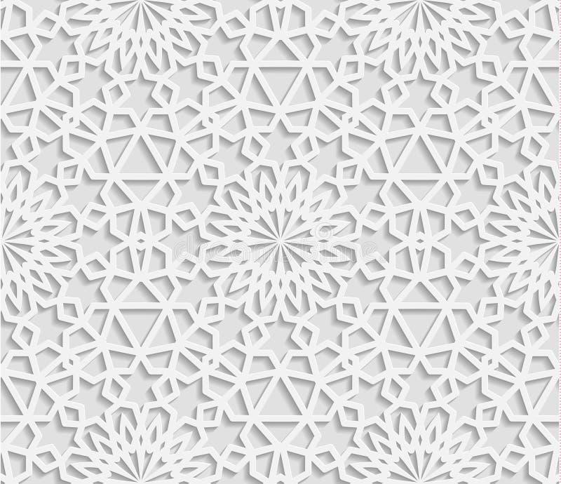 Modello geometrico arabo senza cuciture, ornamento orientale, ornamento indiano, motivo persiano, royalty illustrazione gratis