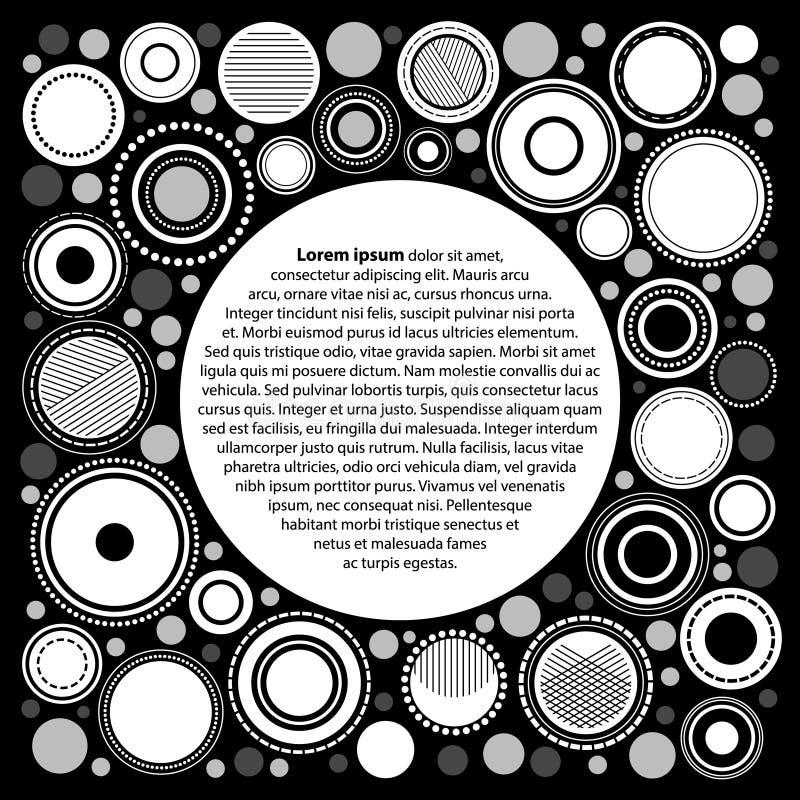 Modello geometrico astratto in bianco e nero per il vostro testo, vettore del manifesto dei cerchi illustrazione di stock