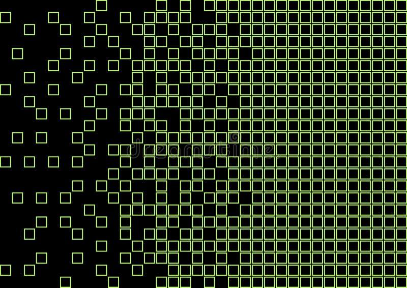 Modello geometrico astratto con i quadrati verdi luminosi della calce su fondo nero Vettore illustrazione vettoriale