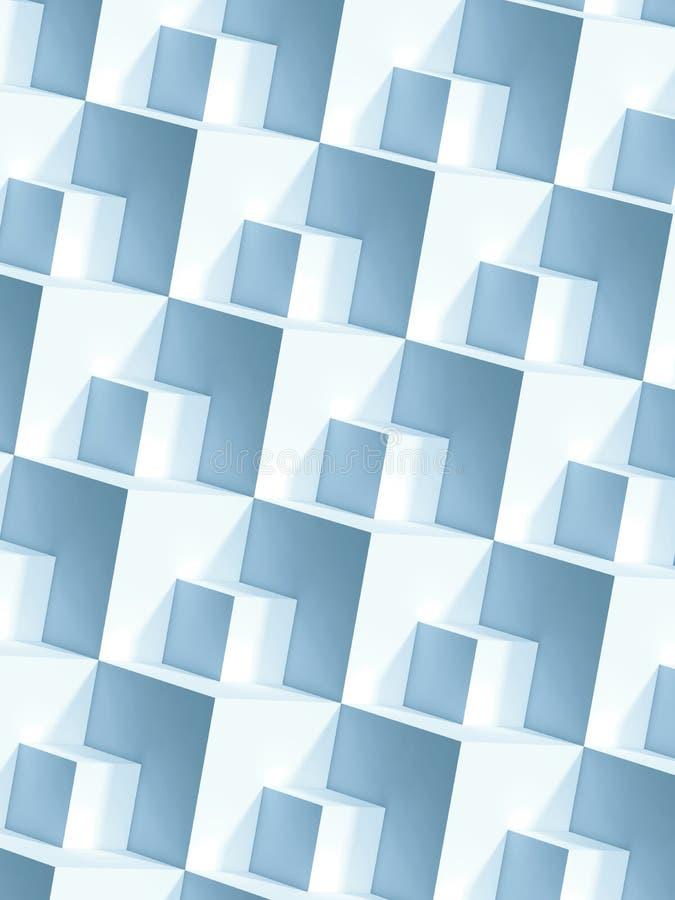 Modello geometrico astratto, cubi bianchi 3d illustrazione vettoriale