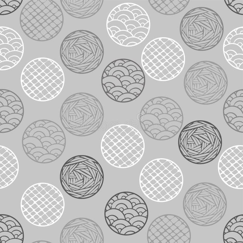 Modello geometrico astratto i punti, cerchi Fondo senza cuciture grigio di vettore illustrazione vettoriale