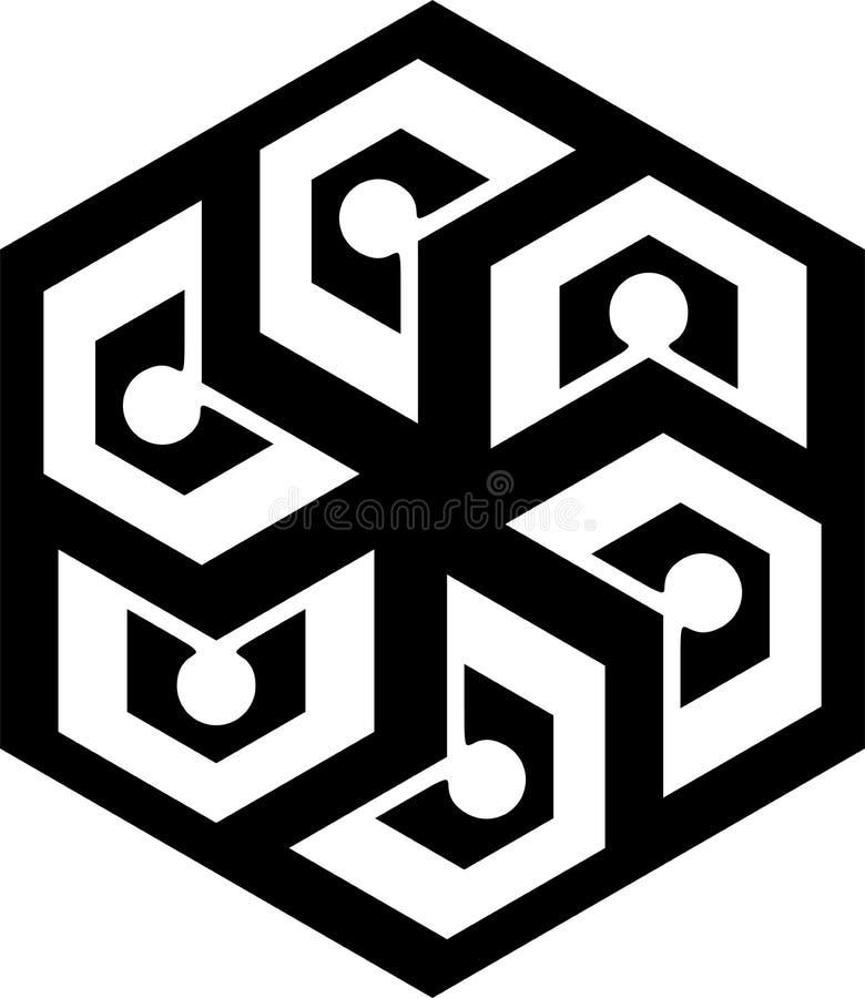 Modello geometrico in bianco e nero nel cerchio illustrazione di stock