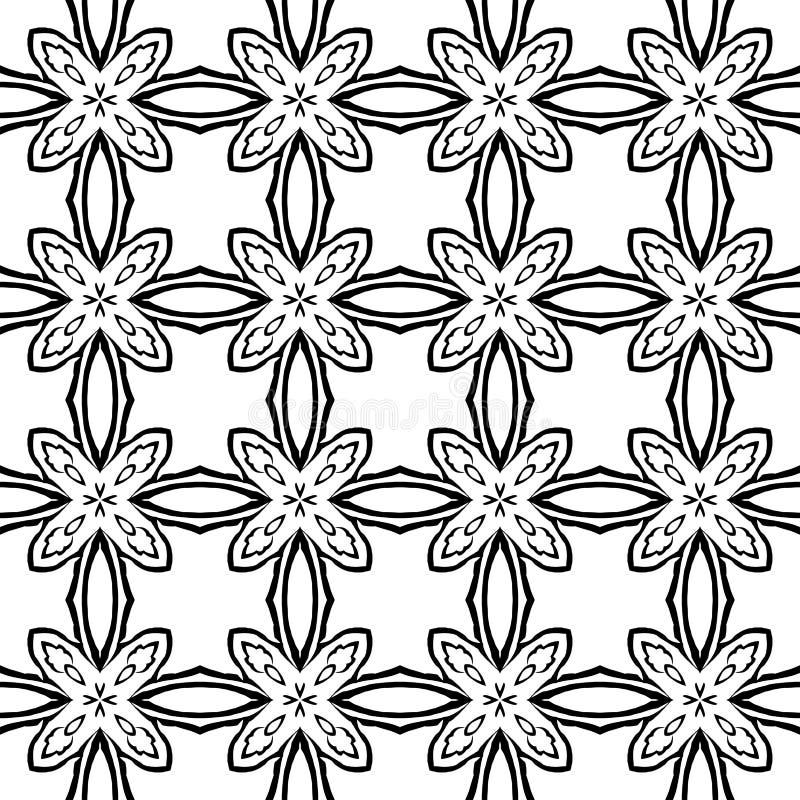 Modello geometrico in bianco e nero nella ripetizione Stampa del tessuto Fondo senza cuciture, ornamento del mosaico, stile etnic illustrazione vettoriale