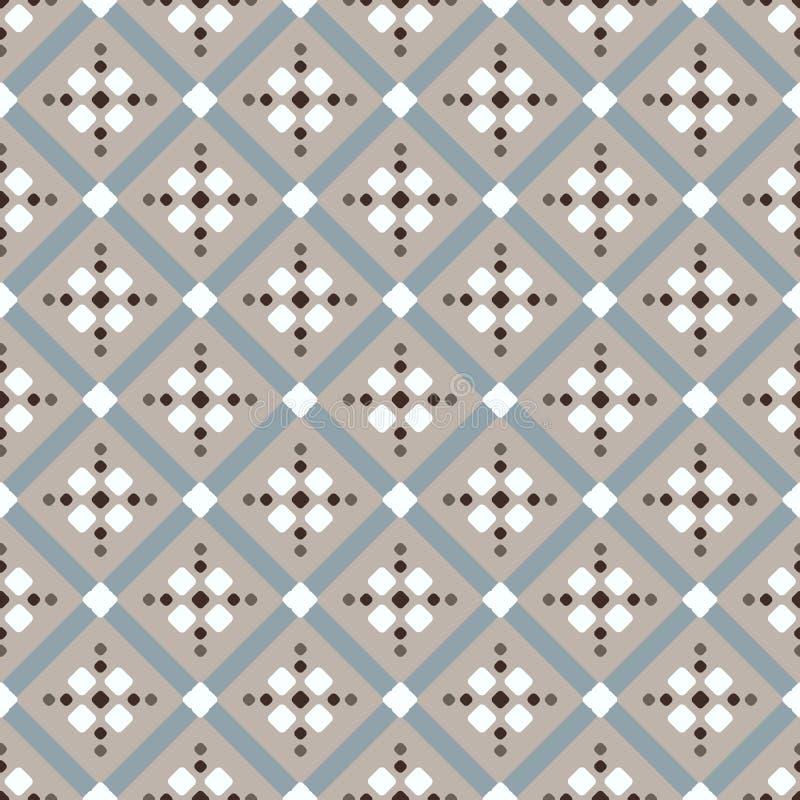 Modello geometrico blu bianco beige di Brown royalty illustrazione gratis