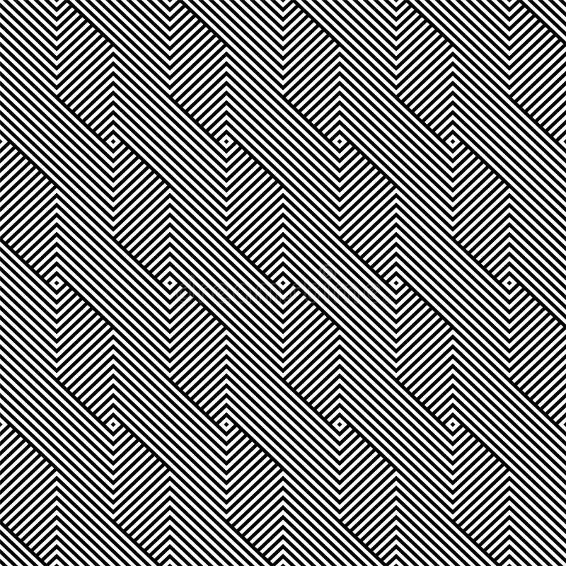 Modello geometrico del tessuto senza cuciture di vettore - struttura a strisce in bianco e nero Fondo lineare senza fine illustrazione vettoriale