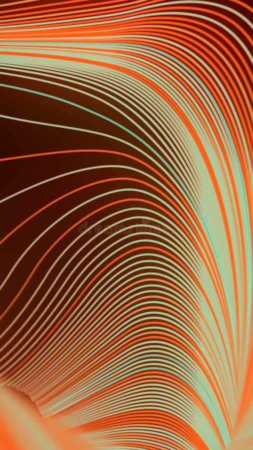 Modello geometrico della banda di Wave Composizione di varie linee colorate rappresentazione 3d royalty illustrazione gratis