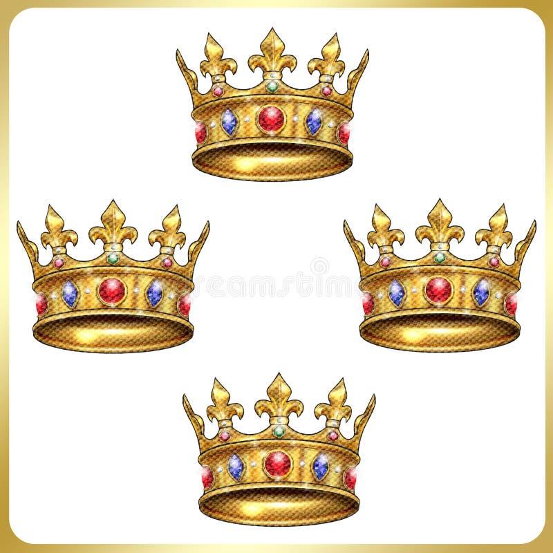 Modello geometrico della corona di re illustrazione di stock
