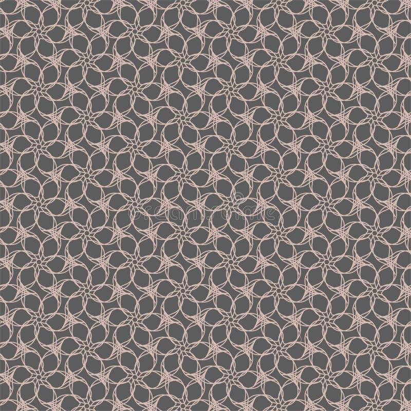 Modello geometrico di contorno del fiore su fondo grigio illustrazione vettoriale