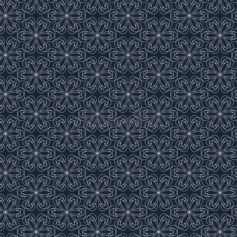 Modello geometrico di contorno su fondo blu illustrazione di stock