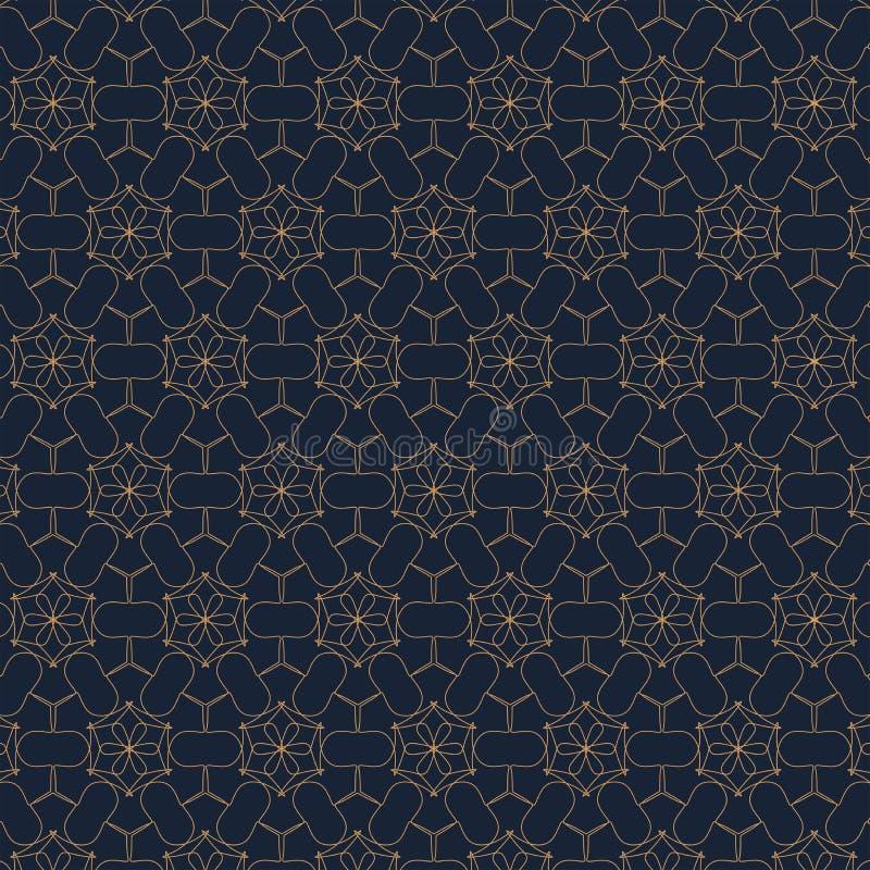 Modello geometrico di contorno su fondo blu Estratto organico disegnato a mano illustrazione di stock