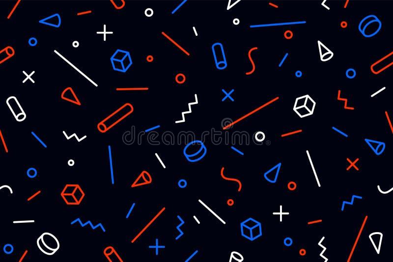 Modello geometrico di Memphis Stili d'avanguardia grafici senza cuciture del modello 80s-90s illustrazione di stock