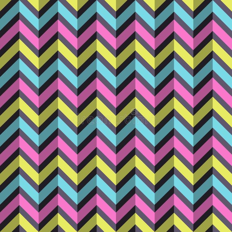 Modello geometrico di modo senza cuciture astratto Linee di colore di zigzag illustrazione di stock