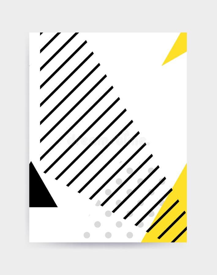 Modello geometrico di Pop art variopinto con gli scarabocchi audaci luminosi dei blocchi illustrazione vettoriale