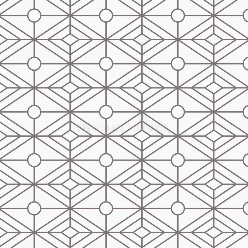 Modello geometrico di vettore, ripetente forma lineare del diamante con forma ovale al centro Grafico pulisca per la carta da par illustrazione vettoriale