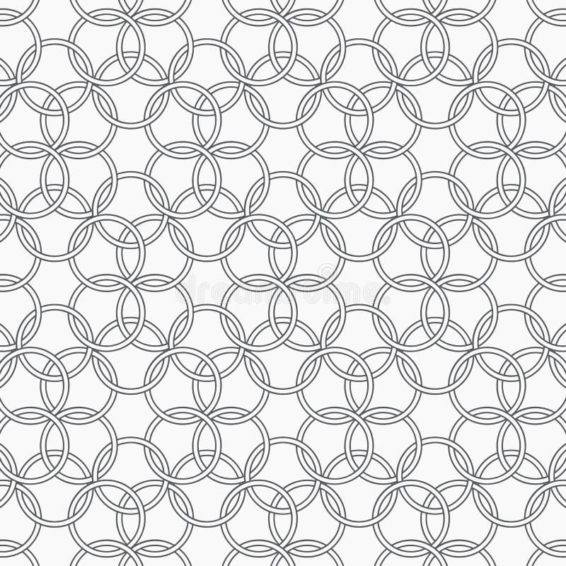 Modello geometrico di vettore, ripetente l'incrocio ciascuno del cerchio colore monocromatico, progettazione pulita del modello p illustrazione di stock