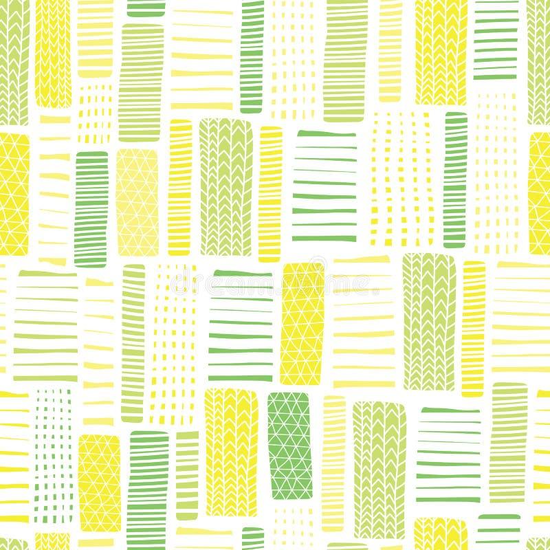 Modello geometrico di vettore senza cuciture verde e bianco rettangoli Linee disegnate a mano verdi e gialle su un fondo bianco i illustrazione vettoriale