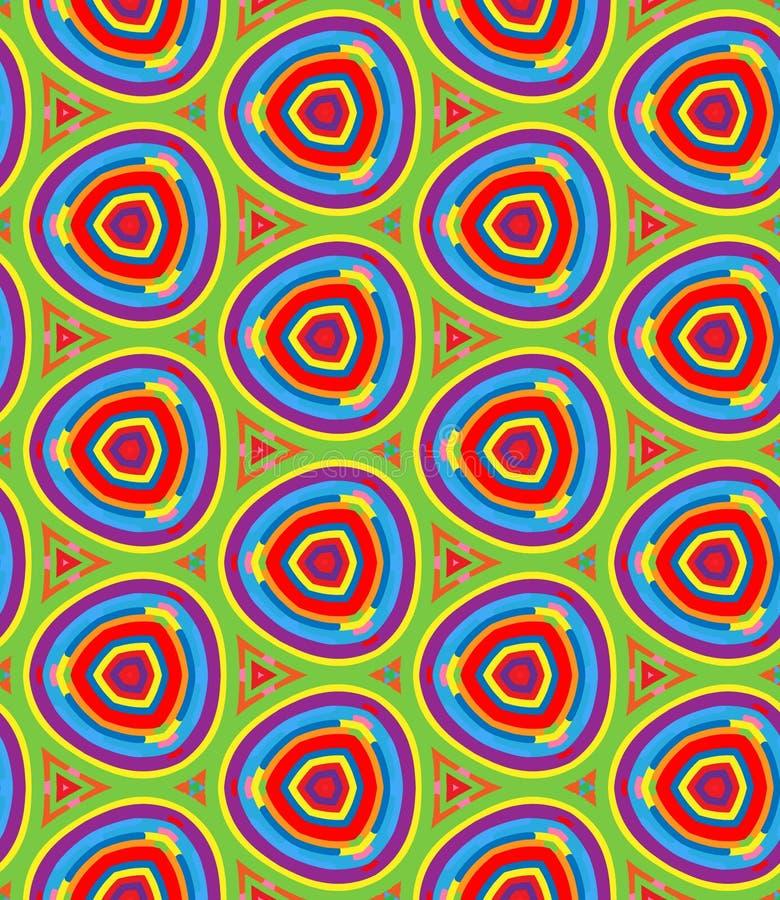 Modello geometrico luminoso nella ripetizione Stampa del tessuto Fondo senza cuciture, ornamento del mosaico, stile etnico illustrazione di stock