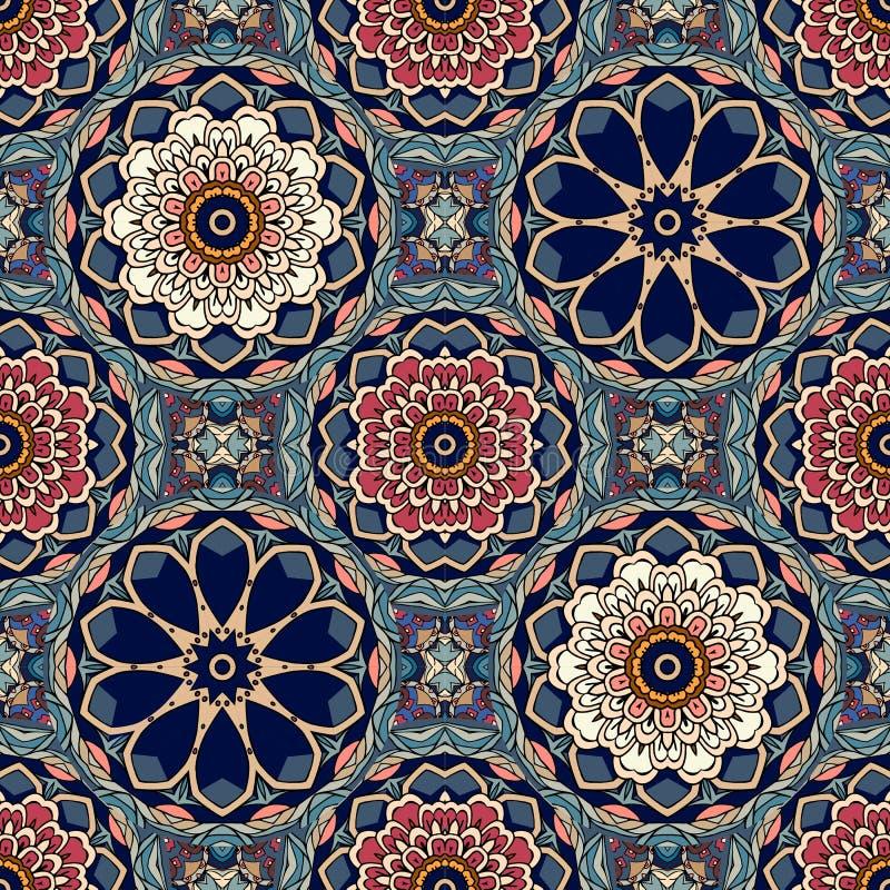 Modello geometrico senza cuciture con le mandale stilizzate dei fiori e del loto Motivi indiani, persiani, marocchini illustrazione di stock