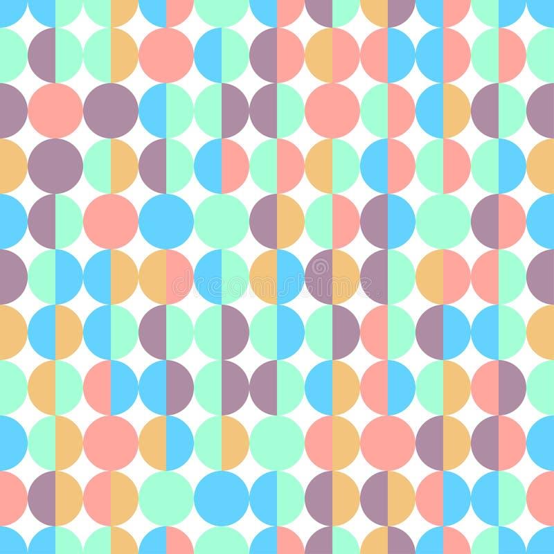 Modello geometrico senza cuciture dei semicerchi variopinti astratti nel vettore su fondo bianco royalty illustrazione gratis