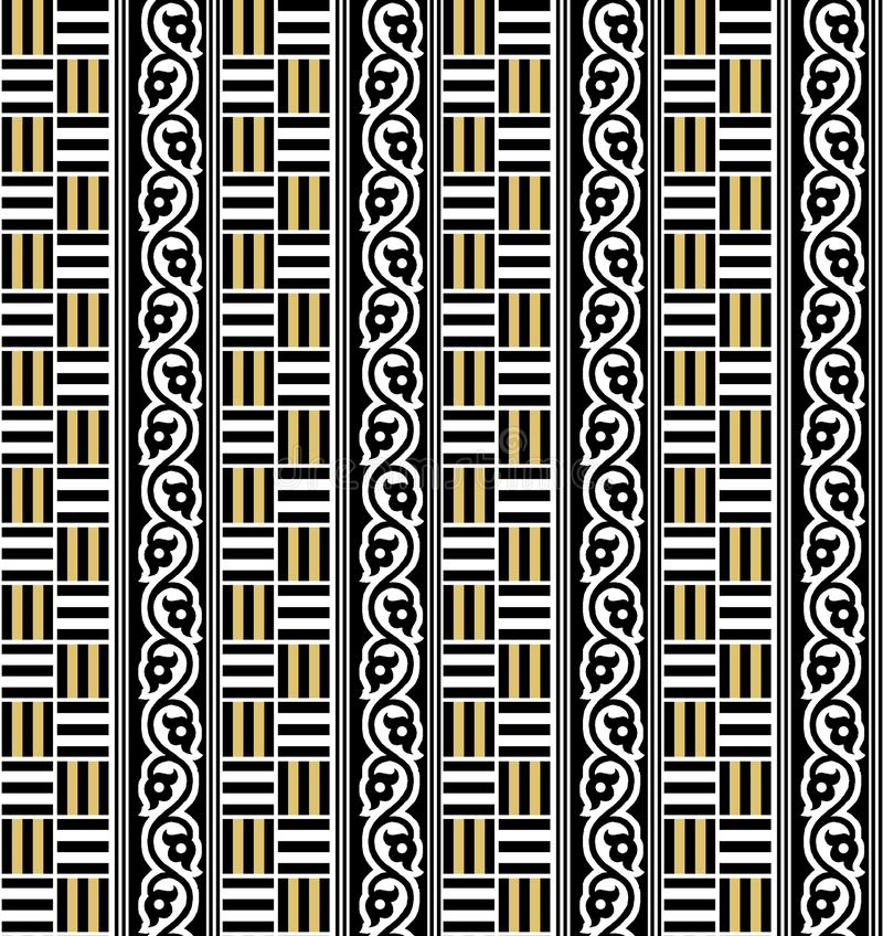 Modello geometrico senza cuciture dell'oro e nero royalty illustrazione gratis