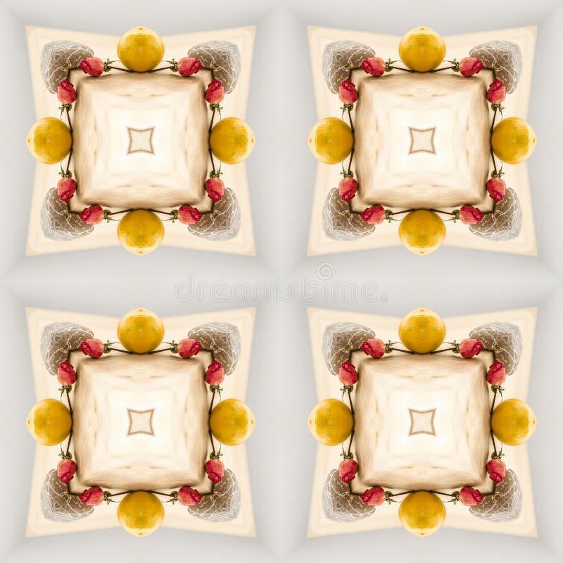 Modello geometrico senza cuciture di natale mandarini, rose illustrazione vettoriale