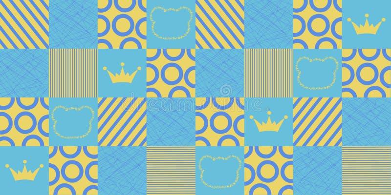 Modello geometrico senza cuciture di vettore con le corone e gli orsi Stampa del tessuto di tessuto di vettore royalty illustrazione gratis