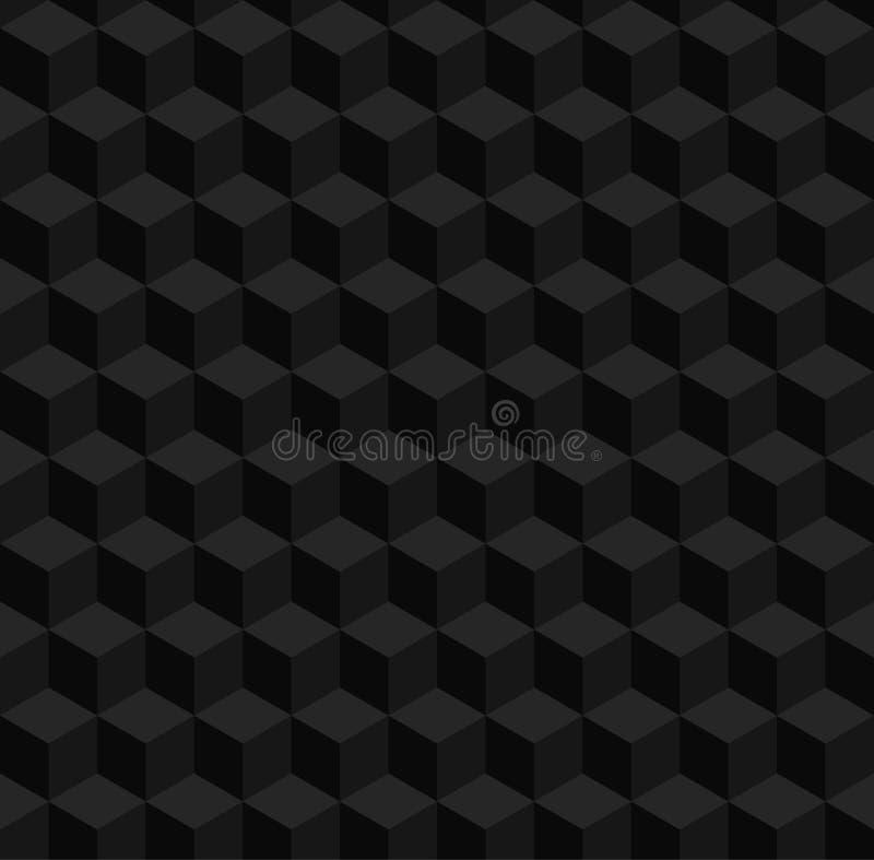 Modello geometrico senza cuciture di vettore 3d Cubi neri del volume illustrazione di stock