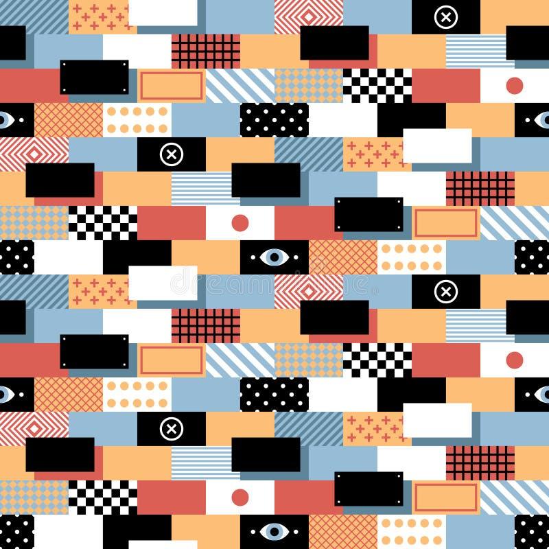 Modello geometrico senza cuciture nello stile piano con i mattoni variopinti royalty illustrazione gratis