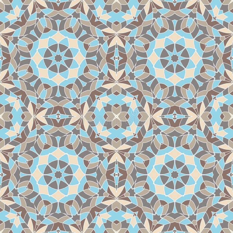 Modello geometrico senza cuciture orientale del tessuto Ornamento di etnia L'ornamentale arrotonda il fondo, struttura, piastrell illustrazione di stock
